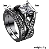 2PCS Men Woman Wedding Band Ring 2-in-1 White Sapphire Fashion Walking Street (9)