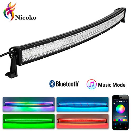 LED Light Bar, Nicoko Curved 50 Inch 288w LED lights with Multicolor RGB Chase Halo Bluetooth app controlled with Music Function over 300 Modes for Off Road Lights Driving Lights Fog Light Jeep lights