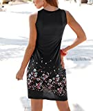 Yidarton Women Summer Dresses Casual Light Sleeveless Print Pleated Sundress A-line Mini Beach Dress