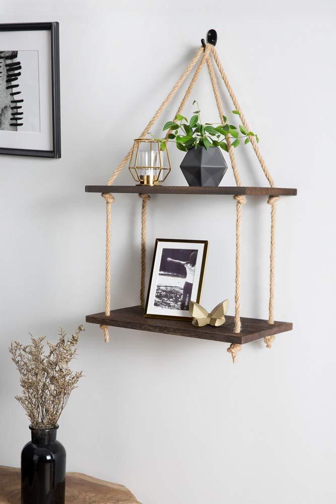 Amazon.com: Mkono - Estante de madera para colgar en la ...