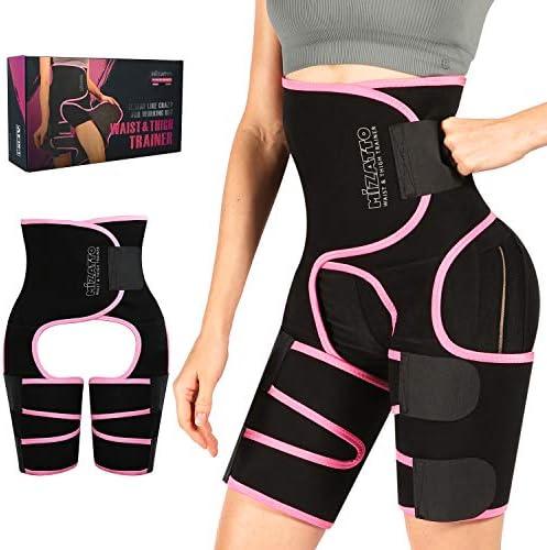 MIZATTO Waist Trainer for Women, 3 in 1 Neoprene Full Body Workout Sweat Belt Thigh Trimmer