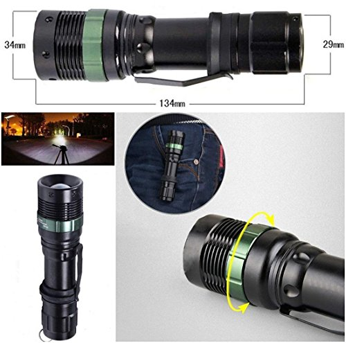 1Pcs Crucial Popular 3000 Lumen LED Flashlight 3-Mode Brightness Light Adjustable Focus Aluminum Alloy Color - Glasses Icon Ion