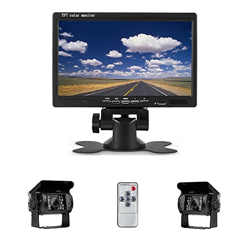 Camecho 12V 24V Vehicle Backup Camera System 2 Rear View Camera Support Night Vision Waterpoof & 7