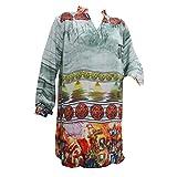 Mogul Women's Hippie Tunic Top Printed Georgette Mandarin Collar Shirt Kurti Ethnic Wear M