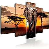 landscape design pictures Animal Canvas Wall Art Print African Landscape Elephant Pictures for Living Room Office Home Decorations 5 Panel
