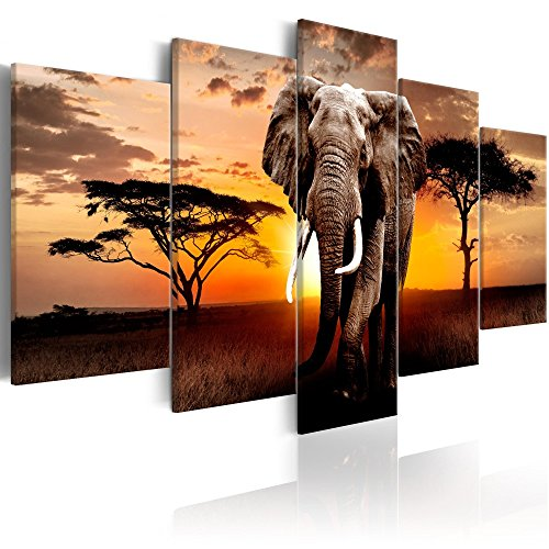 Animal Canvas Wall Art Print African Landscape Elephant Pictures for Living Room Office Home Decorations 5 Panel
