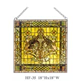 HF-35 18'' Rural Vintage Tiffany Style Stained Church Art Glass Decorative Luxury Gothic Square Window Hanging Glass Panel Suncatcher