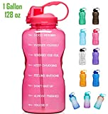 6. Giotto Large Gallon Motivational Water Bottle with Time Marker & Straw, Leakproof Tritan BPA Free, Ensure You Drink Enough Water Daily for Fitness, Gym and Outdoor Sports-Pink