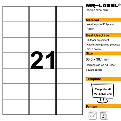 Mr-Label Waterproof Removabl Labels - Tear-Resistant stickers for Kitchen use | Organising and filing - Laser Printer ()