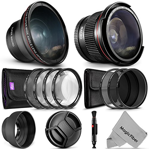 58mm Altura Photo Starter Accessory Kit for Canon EOS Rebel DSLR Bundle with Altura Photo Fisheye and Wide Angle Lenses