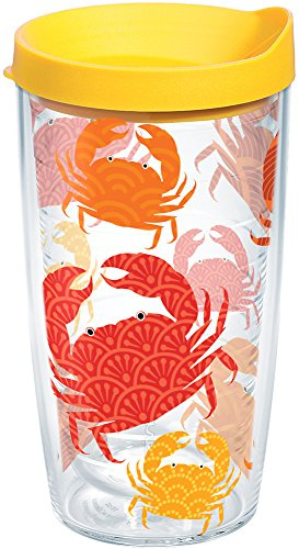 (Tervis 1154200 Crab Pattern Insulated Tumbler with Wrap and Yellow Lid 16oz Clear)