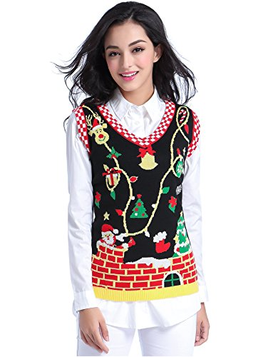 Ugly Christmas Sweater, V28 Women Cute Vintage Knit Xmas Vest Pullover Sweater(Vest Black XS)