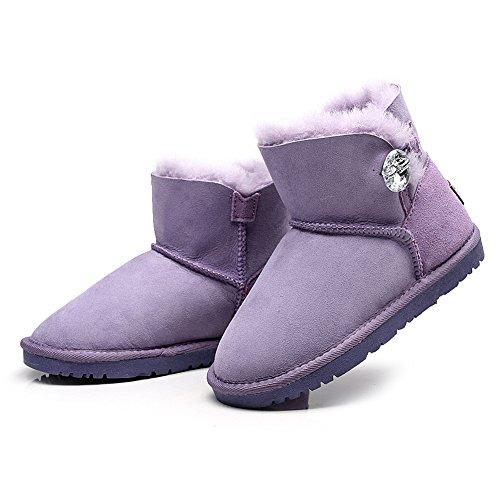 Bottes Rismart Femmes De Violet mollet Chaud Confort Suède Mi Cuir Hiver Bouton Neige pzprRq