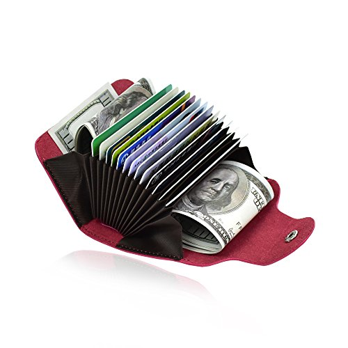 Credit Card Organizer Wallet Small Money Cases Holder Genuine Leather Mini Purse for Men Women,Rose Red,Gift Box Package