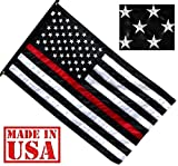 US Flag Factory 3'x5′ Thin RED Line American Flag (Embroidered Stars, Sewn Stripes) for Firefighters – SolarMax Nylon Outdoor – Made in America! For Sale