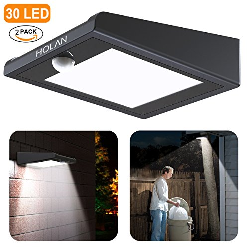 2 Pack 30 LED Solar Lights, Mulcolor Solar Solar Powered Security Lights Wireless Solar Lights Rechargeable Waterproof Wall Light with PIR Sensor for Garden, Patio?Backyard and Pathway