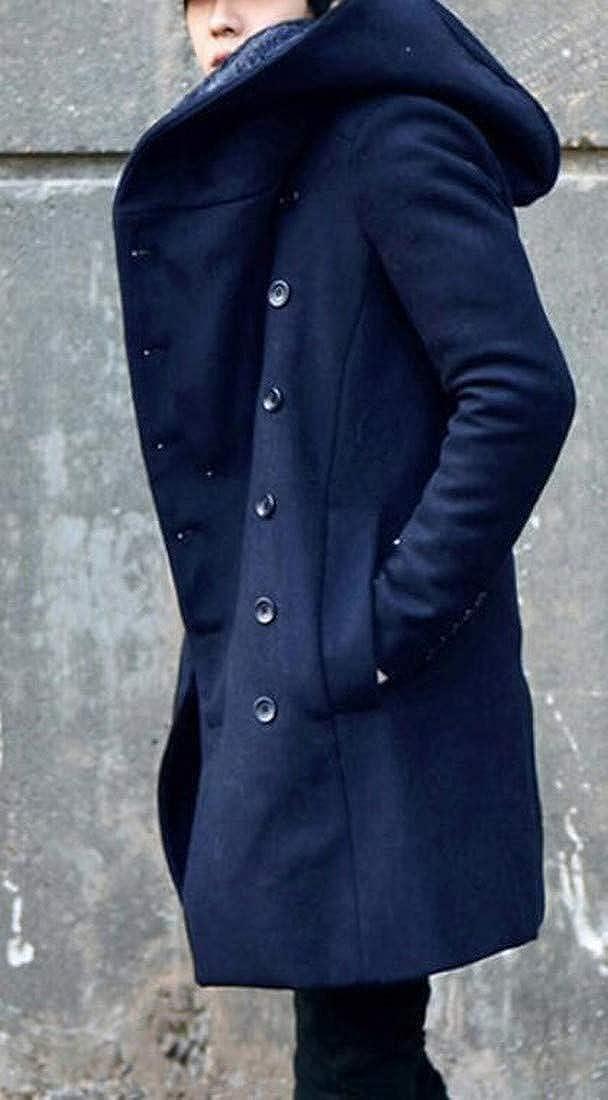 Bravepe Men Autumn Winter Hoodie Longline Slim Double Breasted Wool Blended Trench Pea Coat Jacket