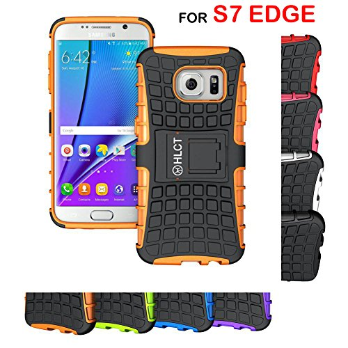 Price comparison product image Samsung Galaxy S7 Edge Stand Case, HLCT Rugged Shock-Proof Dual Layer PC and TPU Case with Built in Kickstand (Orange)