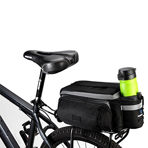 TraderPlus Bike Pannier Bag – Durable & Waterproof Nylon with Reflector Handbag | Shoulder Strap Rack Rear Trunk Tote Bag | Strong Velcro, Zipper Pockets & Bottle Case