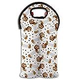 Primavera perro de vino/BOTELLA DE AGUA bolsa Carrier bolsa bolsa 2unidades para viaje con asa de transporte seguro, ideal para regalo.