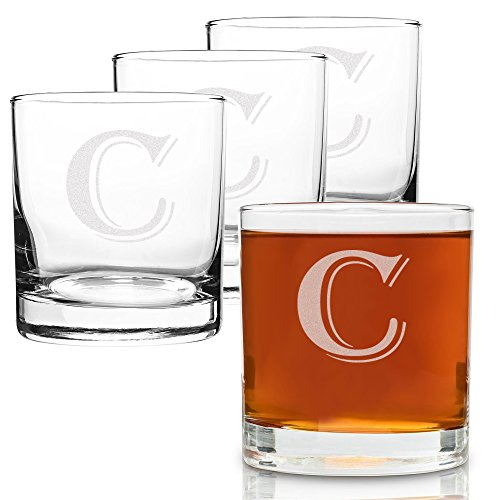 (On The Rox 4 Piece Glass Set Engraved with C-Monogram, 11-Ounce)