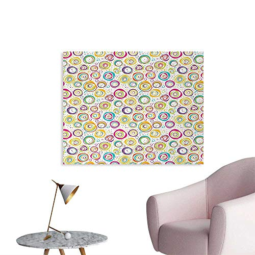 Tudouhoho Abstract The Office Poster Pattern with Circles and Dots Bubble Rings Spotted Springtime Enjoyment Theme Wall Paper Multicolor W28 xL20