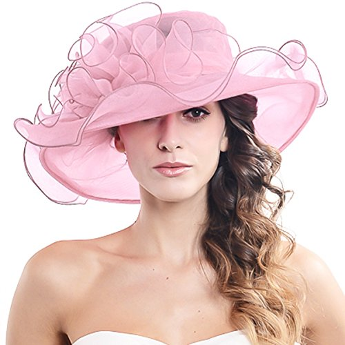 Women's Church Derby Kentucky Wide Brim Sun Hat with Flower S019 (Pink)