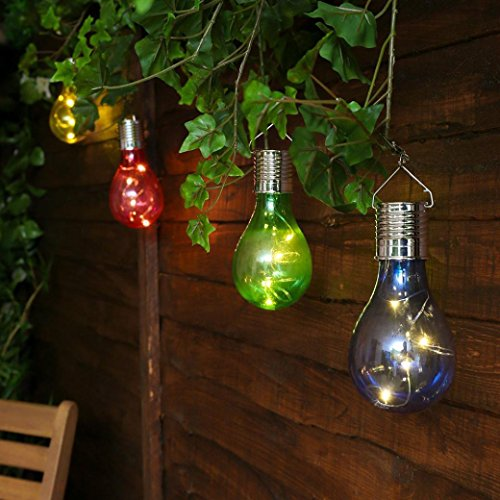 Waterproof Solar Rotatable Outdoor Garden Camping Hanging LED Light Lamp Bulb (Blue (Lite Icicle)