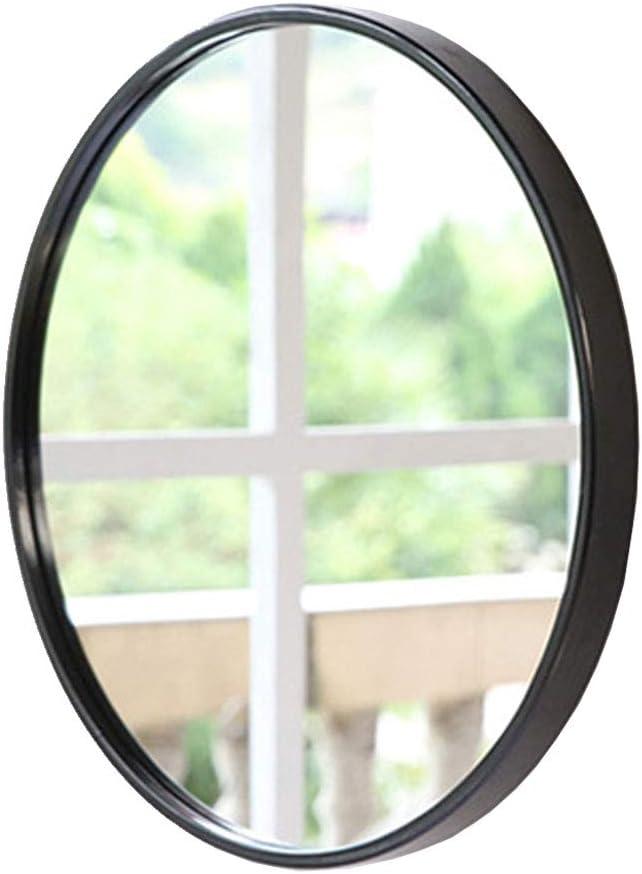 Espejo montado en la Pared Marco de Metal Negro Redondo Espejo HD Maquillaje Ba/ño Espejo de Pared con un Kit Completo Creativo Moderno Di/ámetro 30cm-80cm