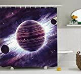 Galaxy Shower Curtain Set by Ambesonne, Outer Space Theme Planets Saturn Mars and Neptune Science Fiction Solar Scene Artprint, Fabric Bathroom Decor with Hooks, 70 Inches, Mauve Purple