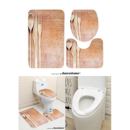 chaoranhome-pattern-bath-mat-set3-piece-bathroom-mats-wooden-cutlery-on-cutting-board-abstract-food-