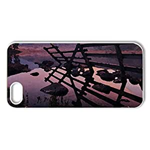 sunset in the field - Case Cover for iPhone 5 and 5S (Fields Series, Watercolor style, White)
