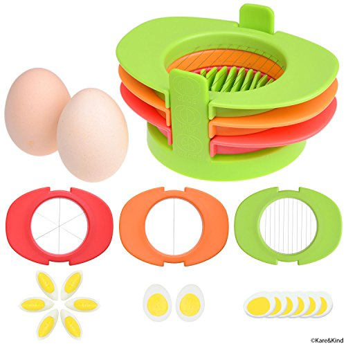 Egg Slicer Set with 3 Cutters - Cut Boiled Eggs into Thin Slices, Wedges or Halves - Easy Manual Egg Slicing - No Power, No Noise - Great for Sandwiches, - Egg Case Slicer