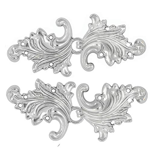 Bezelry 4 Pairs Asymmetric Acanthus Leaf Cape or Cloak Clasp Fasteners. 66mm x 28mm Fastened. Sew On Hooks and Eyes Cardigan Clip (Silver) -
