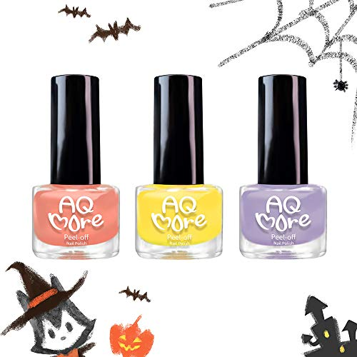 AQMORE Non Toxic Water Based Peel Off Nail Polish - Stays on for Days, Gel-Like Shine, Dries in Minutes, Fragrance & Paraben Free, Kid Safe, 2 Colors with Top Coat (0.20 fl oz/Bottle) - Halloween