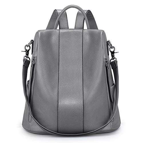 S-ZONE Soft Leather Backpack for Women Antitheft Rucksack Ladies Waterproof Shoulder Bag (Gray)