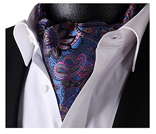 Silk Ascot (Allbebe Men's Blue Pink Floral 100% Silk Cravat Ties Jacquard Woven Casual Ascot)