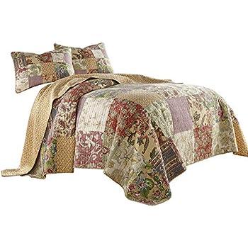 Georgia 3-piece Floral Patchwork Reversible Vintage Washed 100/% Cotton Quilt Set