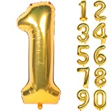 40 Inch Gold Digit Helium Foil Birthday Party