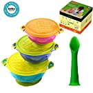 Baby Bowls and Spoons - Spill Proof Stay Put Suction bowls with Lids - BPA Free Feeding Plates Dishes Set - Stackable Storage Food Utensils and Dinnerware - Best for Babies and Toddlers - 3 Count