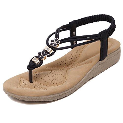 Damen Flip-Flops Sandalen Schuhe von Blumen Blumen Blumen Strasssteine Böhmen Stile Schwarz 759004
