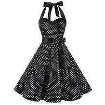Dresstells® Halter 1950s Vintage Audrey Dress Polka Dots Retro Cocktail Dress