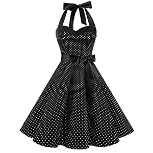 DRESSTELLS 50's Vintage 1950s Rockabilly Polka Dots Audrey Dress Retro Cocktail Dress