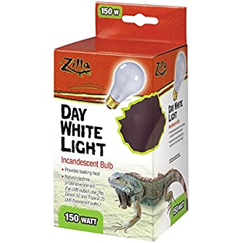 Zilla Reptile Terrarium Heat Lamps Incandescent Bulb, Day White, 150W