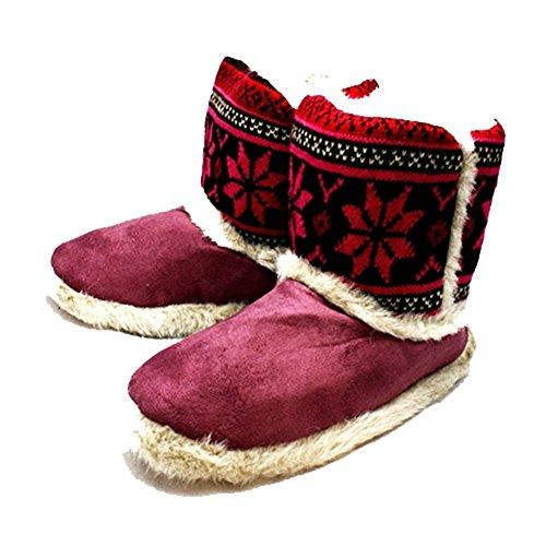 superior punto botas Piel señoras Ciruelo de zapatilla las bordes con hecha 6gzwg