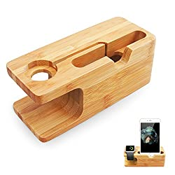 Fanshu Bamboo Wooden Cellphone Stand Charger Station for Apple Watch Desktop Bed Holder Charging Dock