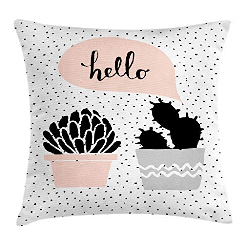 Bubble Chair Club (Ambesonne Cactus Throw Pillow Cushion Cover, Dotted Backdrop with Two Hand Drawn Plants Having a Conversation Speech Bubble, Decorative Square Accent Pillow Case, 20 X 20 Inches, Blush Black Grey)