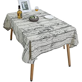 Attrayant YUUVE Tablecloths Wood Tower Printed Rectangular Tablecloths Multi Function  Dining Table Cloth Cotton Linen