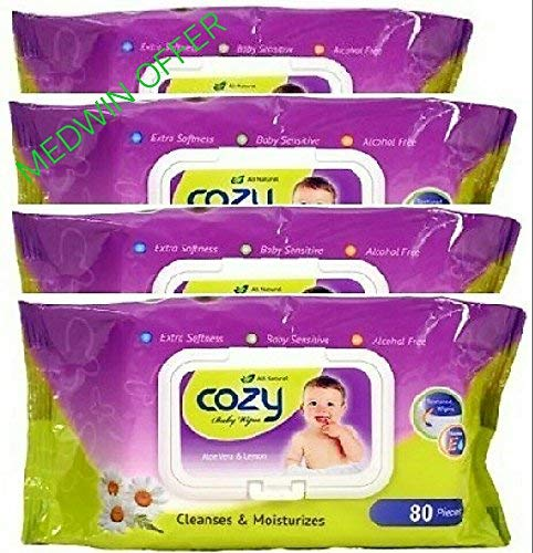 COZY BABY WIPES 80 Sheets  Pack of 4  Green