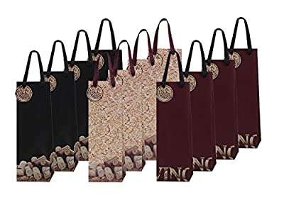 Heart Paper Products 12 Piece Exclusive Wine Gift Bags, 3 handsome Designs